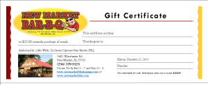 NMBBQ Gift Certificate