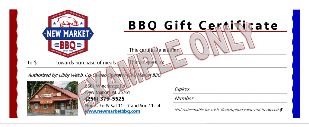 NMBBQ Gift Certificate Example Only
