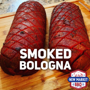 Smoked Bologna by New Market BBQ dry rubbed with our signature rub.